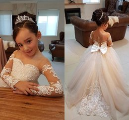 Gowns For Flower Girls NZ - 2017 Flower Girls Dresses For Weddings Jewel Neck Lace Appliques Long Sleeves Sheer Buttons Back Sashes Bow Birthday Children Pageant Gowns