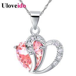 $enCountryForm.capitalKeyWord Australia - Heart Choker Necklace Women NecklacesPendants For Women Crystal Pendant Purple Pink Blue Jewelry Uloveido N673 Christmas Gift