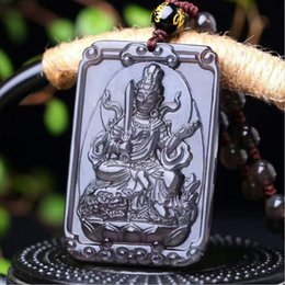 Obsidian Pendants Men Canada - Natural color ice obsidian eight patron saint crystal pendant Men and women fashion jewellery charms A birthday present