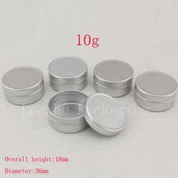 Round Tins Lids Canada - 10g empty round aluminum lip balm tins for cosmetic packaging,silver metal cosmetic jar container,10cc cream jar bottle with lid