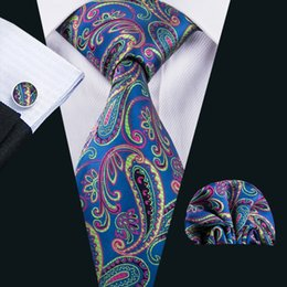 UniqUe ties online shopping - Unique Handmade Silk Tie for Men Newest Design Blue Mens Ties Pocket Square Cufflinks Set for Wedding Part Business N