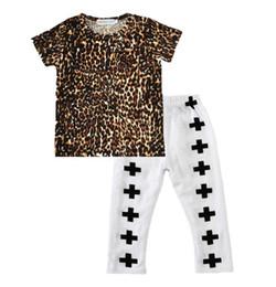 Boy cross t shirt online shopping - Chirldren summer boys suit children s short sleeved leopard t shirt cross pants Set Kids Boutique Clothing B4757