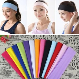 Étirement En Gros Pas Cher-Vente en gros - Stretch Headband Sports Yoga bande de cheveux Sweat Head Wrap Unisex good Stretch Bandanas 1000pcs / Lot Peut être personnalisé LOGO C082