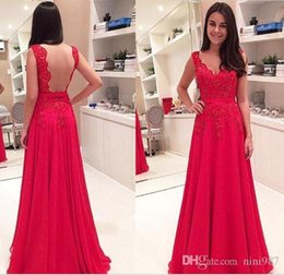 $enCountryForm.capitalKeyWord NZ - 2016 Beautiful Charming Backless Evening Dresses V-Neck Applique Lace Floor Length Fuchsia Lace Elegant Formal Party Prom gowns Cheap sale