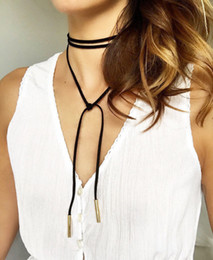 American Tie Wholesale Canada - Factory price wholsales 5mm SILVER Gold Tube Black Faux Suede Cord String Wrap Bolo Tie Choker Necklace