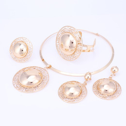 African Dubai 18k Gold Plated Set Australia - Fashion Jewelry Sets Big Exaggerated Necklace Earrings Pendant Gold Plated African Dubai Bridal Women Party Jewelry Set