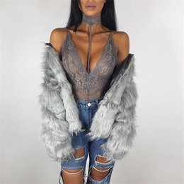Maillot De Dentelle À Vendre Pas Cher-Hot Sale Black Grey Lace Halter Bodysuit Femmes 2017 See Through Summer Combinaison Maillot Sexy Bodycon Rompers Combinaisons Bodysuits