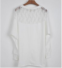 Women Batwing White Tee NZ - Hot Sale Plus Size Fashion Spring T-Shirts Batwing Sleeve Loose Pullover O-Neck Black White Lace Women Clothing New Tees S-2XL