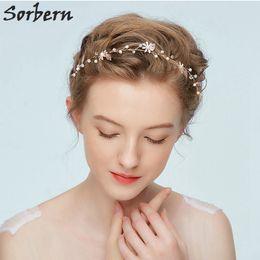 $enCountryForm.capitalKeyWord NZ - Sorbern Free Shipping Gold Plating Headpiece Bridal Hair Accessories Pearl Rhinstone Handmade Wedding Headpiece Elegant Hair Vine