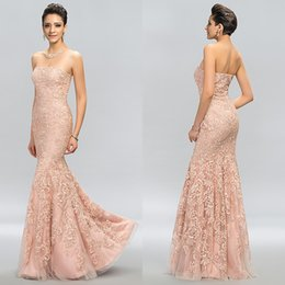 Barato Vestido De Formatura De Sereia De Champanhe Sem Alças-2017 Champagne Long Strapless Mermaid Evening Dresses Novo Custom Made Floor-Length Applique Applique Lace Sexy Red Carpet Trumpet Prom Gowns