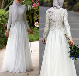 Discount high collar formal evening dresses - Vintage Hign Collar Long Sleeves Evening Dresses A Line Appliqued Beaded Formal Saudi Arabic Dubai Muslim Formal Party W