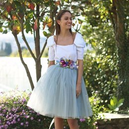 Black Spring Outfits Women Canada - Country Style Spring Summer Skirts Women A Line Knee Length Tutu Skirt Female Outfits Clothes
