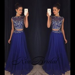 Wholesale womens little black dresses resale online – Royal Blue Two Pieces Beaded Prom Party Dresses Elegant Full Length Chiffon Crew Custom Make Womens Occasion Evening Gowns