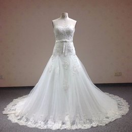 Barato Vestidos De Noiva Impressos-Sweetheart sem mangas Backless Lace Print Sashes Mermaid Wedding Dresses Lace Graceful Mermaid Bridal Dress 2018 Lace Appliques Wedding Party