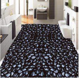 3d realistic water pebble floor tile decorative painting wallpaper for bathroom waterproof