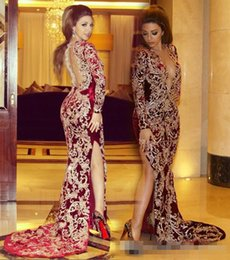 Cuello Vestidos De Fiesta Cuello Baratos-2017 Sexy Myriam Fares frente Split vestidos de noche Mermaid Plunging V Neck Lace Applique mangas largas árabe formal Fiesta Celebrity Vestidos