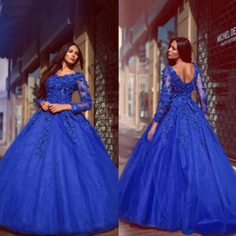 Vestidos De Quinceañera Azul Encaje Baratos-Exquisito Royal Blue Ball Gown Beaded Flowers Full Length Vestidos de Quinceañera Lace Up Long Sleeved Ball Gowns