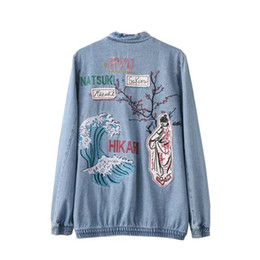 Discount flower jackets ladies - 2017 New Fashion Autumn Women Casual Jeans Bomber Jackets Lady Spliced Floral Embroidery Denim Outerwear Coats