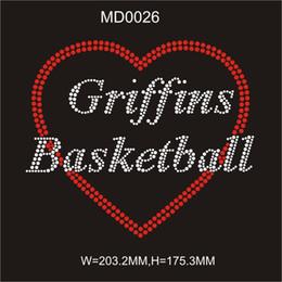 $enCountryForm.capitalKeyWord Australia - Iron on front t-shirt Griffins Basketball hot fix rhinestone image transfer 30pcs free shipping from china