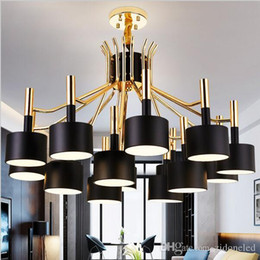2016 Hot New Arrival Luminaire Suspendu Modern Led Chandelier For Living Room Dining Gold And Black Fixtures