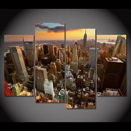 $enCountryForm.capitalKeyWord NZ - 4 Pcs Set Framed HD Printed New York Skyscrapers Art Picture Wall Print Decor Poster Artwork Canvas Oil Painting Cuadros Modern