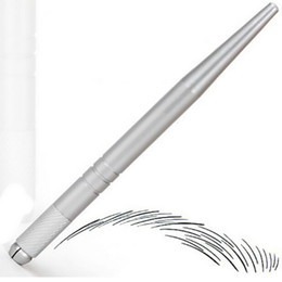 100 Adet gümüş profesyonel kalıcı makyaj kalem 3D nakış makyaj manuel kalem dövme kaş microblade