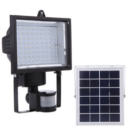 solar road lights 2019 - 80LEDs Solar Panel PIR Body Human Motion & Light Sensor Landscape Lamp Security Spotlight for Lawn Garden Pool Pond Road