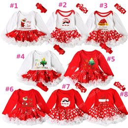 $enCountryForm.capitalKeyWord NZ - INS Baby girls Christmas printing Red dress 2ps sets crocheted bow headband+Xmas pattern romper Infants first christmas gifts cute outfits