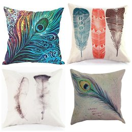 peacock feathers sale Canada - Feather Cushion Cover Peacock Hair Pillow Case Non Core Cushions Linen Covers Hold Cotton Pillow Cases Colored Feathers Hot Sale 8ht R