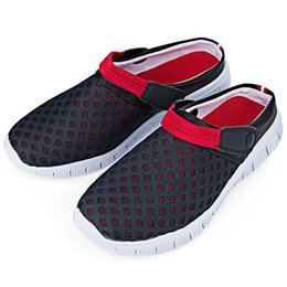 Garden Clogs Canada - Wholesale-Fashion Men Summer Casual Garden Shoes Breathable Mesh Clogs Beach Flip Flop Slipper Comfortable Black Slide Sandals For Male