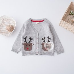 Barato Camisola Dos Meninos Cinzentos-New Boys Girls Sweaters Cute Animal Deer Pocket Camisola de manga comprida Tops Knitting Cardigan Boy Girl's Clothing Top Grey A6977