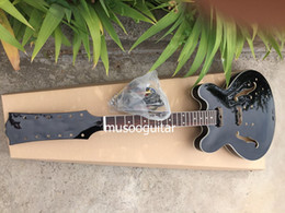 hollow guitar black NZ - Brand New project electric 12string guitar in black with chrome parts in black color
