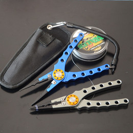 Fishing Lip Gripper Tool NZ - Multi-function Fish Lip with Retension Rope Protective Case Portable Gripper Fishing Lure Pliers Scissors Pesca Tackle Tool