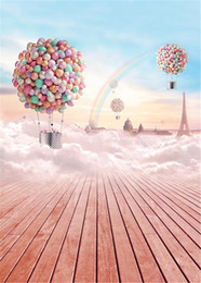 Discount rainbow backdrop - Pink Wood Floor Rainbow Photography Backdrop Colorful Balloons Eiffel Tower Blue Sky Thick Cloud Newborn Baby Digital Ba
