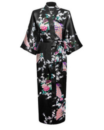 Chinese Floral Paintings UK - Wholesale- Women New Arrival Robe Plum Size Chinese Style Kimono Hand-Made Painted Kaftan Robe Gown Bathrobe Sleepwear Robes S-3XL RB02148