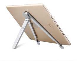 aluminium phone stand UK - Wholesale- Foldable Adjustable Metal Portable Angle Bracket For iPad Tablet Stand Holder Mount Tablet PC Phone Holders Less Than 10 Inch