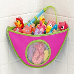 $enCountryForm.capitalKeyWord Canada - Wholesale- Baby Bathroom Mesh Bag Bath Toy Bag Net Suction Cup Baskets Home Hanging Makeup Cosmetic Bags MU879480