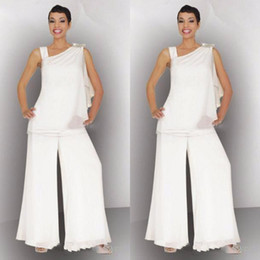 lilac lavender pant suits women Canada - Elegant Mother Of The Bride Groom Pant Suit Ruched Crystal Plus Size White Chiffon Elegant Women Formal Wedding Guest Dresses