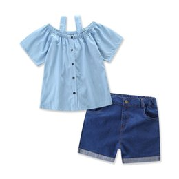 Barato Menina Verão Denim Moda-Everweekend Ins Baby Girls Summer Outfits Denim Halter Ruffles Tees e Denim Shorts 2pcs define Cute Children Fashion Clothing