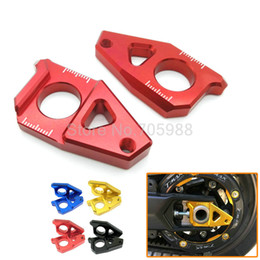 Black Blocks Canada - Red Blue Gold Black CA-YA001-GO Motorcycle CNC Rear Axle Spindle Chain Adjuster Blocks for Yamaha TMAX 530 500