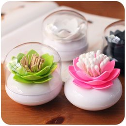 Plastic Toothpick Wholesale Australia - Wholesale- 1 pc Swab Cotton Toothpick Box with Lid Colorful Durable Holder Case Bud Box Lotus Vase Decorating Toothpick Cover Case