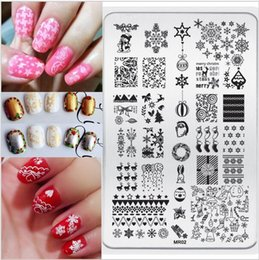 Modèle En Acier Inoxydable À Ongles Pas Cher-Vente en gros- Nouveaux produits MR02 décoration de Noël DIY Nail Art design Stamp Stamping9.5 * 14.5CM Stainless Steel Image Plate Template