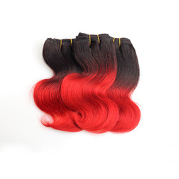 Chinese  Brazilian Ombre Short Hair Extensions body wave 7a Grade 1B Red ombre weave Human Hair 2016 Trendy Bob Hairstyles brazilian hair 6Pcs 300g manufacturers