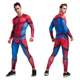 Barato Aranha Legging-1 Suit Men's Fashion Outdoor Sport Suit Fitness Spider Man Compression Tights T-Shirt Legging Pants Baselayers Tranning Sport Tracksuit
