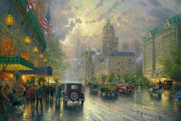 $enCountryForm.capitalKeyWord NZ - New York 5th Avenue Thomas Kinkade Oil Paintings Art Wall Modern HD Print On Canvas Decoration No Frame