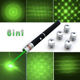 Lazer Pens Canada - Powerful 5mw 532nm 6 in 1 Green Laser Pointer Beam Light Lazer Pen 5 Caps High Power Free Shipping