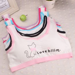 Barato Menina Bra Impresso-Baby Girls Training Bras para 10-14Y Top Clothes 2017 Lovely Girls Impressão Underwear Bra Vest Children Underclothes Sport Undies