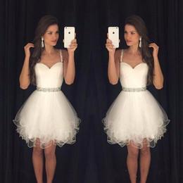 $enCountryForm.capitalKeyWord Australia - Hot Sale A Line Sweetheart Prom Dresses Puffy Short White Spaghetti Straps Beaded Crystals Ruffles Graduation Party Dress Cheap