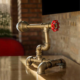 2017 Style DIY Handmade Unique Vintage Lightings Water Pipe Desk Lamps Table  Lights Pipe Lamps Holiday Bar Light FJ DT1S 010A0 Handmade Table Lamps Deals
