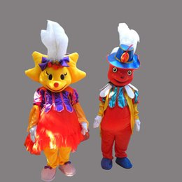 Barato Menino, Menina, Fantasia, Vestido-Cute Clown Boy Adulto Tamanho Mascot Clown Girl Costume Fancy Birthday Party Dress Halloween Carnavais Trajes Com Alta Qualidade